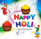 Happy holi colorful background with grunge Stock Images