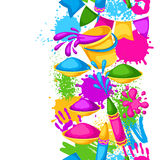 Happy Holi colorful seamless border. Illustration of buckets with paint, water guns, flags, blots and stains Royalty Free Stock Image
