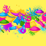 Happy Holi colorful seamless border. Illustration of buckets with paint, water guns, flags, blots and stains Royalty Free Stock Photography