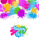 Happy Holi colorful seamless pattern. Grunge background with paint splashes, blotches, spots and drops.  Stock Photos