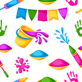 Happy Holi colorful seamless pattern. Illustration of buckets with paint, water guns, flags, blots and stains Stock Photography