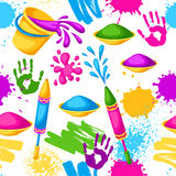 Happy Holi colorful seamless pattern. Illustration of buckets with paint, water guns, flags, blots and stains Stock Image