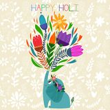 Happy Holi - concept  card-Indian festival Happy Holi cele. Brations -with cute elephant Stock Image