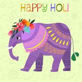 Happy Holi - concept  card-Indian festival Happy Holi cele. Brations -with cute elephant Royalty Free Stock Photography