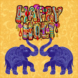 Happy Holi design with two elephants on floral indian background Stock Images