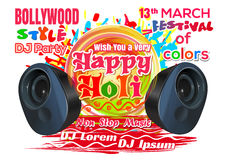 Happy Holi. DJ party in the Bollywood style. Holi festival - 2017. Indian festival of colors and spring. Happy Holi. DJ party in the Bollywood style. Holi Stock Photos