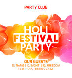 Happy Holi festival background poster design. Colorful vector holi greeting celebration decoration. Indian culture pain.  Royalty Free Stock Photography