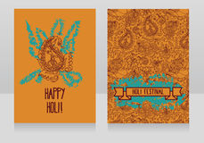 Happy holi festival cards, template for holiday design in indian style Stock Photography