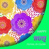 Happy holi.Festival of colors.Bright colorful background with paper flowers. A holiday of spring in India. Vector Royalty Free Stock Photo