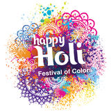 Happy Holi festival of colors. On the colorful background royalty free illustration