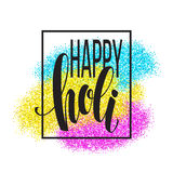 Happy Holi  festival of colors greeting background with  colorful Holi powder paint clouds and sample text. Vector Royalty Free Stock Images
