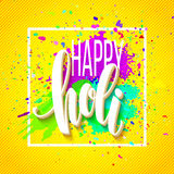 Happy Holi  festival of colors greeting background with  colorful Holi powder paint clouds and sample text. Vector. Illustration EPS10 Royalty Free Stock Images