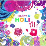 Holi design poster. Happy Holi - festival of colors.Traditional Indian festival Holi. Bengali New Year.Template for festive banner, poster. Holiday of spring Royalty Free Stock Images