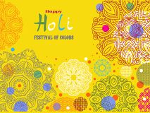 Holi design poster. Happy Holi - festival of colors.Traditional Indian festival Holi. Bengali New Year.Template for festive banner, poster. Holiday of spring Stock Image
