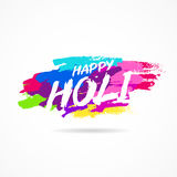 Happy Holi. Festival of colors. Trend lettering. Vector illustration on white background with dabs of ink of different colors. Great holiday gift card Royalty Free Stock Photography