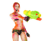 Happy Holi Festival! Crazy Party game - Beautiful Girl in b Royalty Free Stock Images
