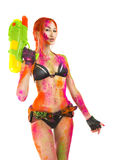 Happy Holi Festival! Crazy Party game - Beautiful Girl in b Royalty Free Stock Photography