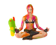 Happy Holi Festival! Crazy Party game - Beautiful Girl in b Stock Image
