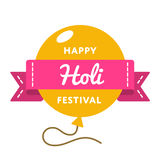 Happy Holi Festival day emblem. Isolated raster illustration on white background. 13 march indian traditional holiday event label, greeting card decoration Stock Photography