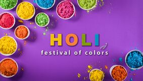 Free Happy Holi Festival Decoration.Top View Of Colorful Holi Powder On Purple  Background With  Text Stock Images - 213969334