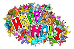 Happy Holi festival doodle Stock Photography