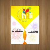 Happy Holi Festival. The Festival of Colors. White brochure havi. Ng colorful watercolor, typography and sample text. For web design and application interface Stock Photography