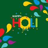 Happy holi festival. holi color drops with creative typography o. N green background. For web design and application interface, also useful for infographics Royalty Free Stock Photo
