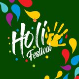 Happy holi festival. holi color drops with creative typography o. N green background. For web design and application interface, also useful for infographics Stock Image