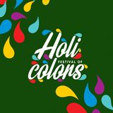 Happy holi festival. holi color drops with creative typography o. N green background. For web design and application interface, also useful for infographics Royalty Free Stock Images