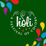 Happy holi festival. holi color drops with creative typography o. N green background. For web design and application interface, also useful for infographics Stock Photo
