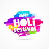 Happy Holi Festival. Lettering. Holi. Festival of colors. Trend lettering. Vector illustration on white background with dabs of ink of different colors. Great Royalty Free Stock Photo