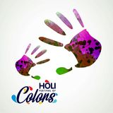 Happy holi festival. white background having colorful handprints. And creative typography. For web design and application interface, also useful for Stock Photography