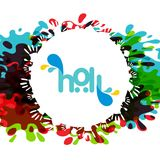 Happy holi festival. white holi background having creative typog. Raphy and multi water colors. For web design and application interface, also useful for Stock Images