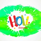 Happy holi festival. white holi background having creative typog. Raphy and multi water colors. For web design and application interface, also useful for Stock Image