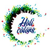 Happy holi festival. white holi background having creative typog. Raphy and multi water colors. For web design and application interface, also useful for Royalty Free Stock Photos