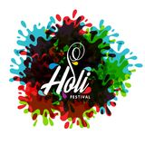 Happy holi festival. white holi background having creative typog. Raphy and multicolors. For web design and application interface, also useful for infographics Stock Image