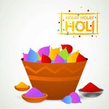 Happy holi festival. white holi background having creative typog. Raphy and colorful holi elements. For web design and application interface, also useful for Royalty Free Stock Photo