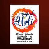 Happy holi festival. white holi brochure having multicolor splas. H and white splash. creative typography and sample text is also included. For web design and Stock Image