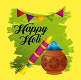 Happy holi festive party traditional poster invitation. Vector illustration Stock Photography