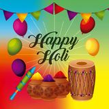 Happy holi greeting card with balloons pennant powder color. Vector illustration Royalty Free Stock Photos