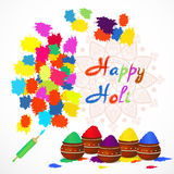 Happy holi greeting card with color splashes, pichkari and mandala . Vector illustration. Happy holi greeting card with color splashes, pichkari, mandala, color stock illustration