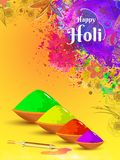 Happy Holi greeting card decorated with floral design. royalty free illustration