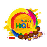 Happy Holi greeting card with traditional pots, pichkari and color splashes Royalty Free Stock Photography