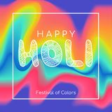 Happy Holi greeting card. Vector color background. Happy Holi greeting card. Vector color flow background Stock Photography
