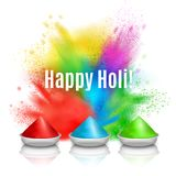 Happy Holi Holiday Background. Holi paint realistic composition with pieces of festive paint and colourful splashes with editable text vector illustration Royalty Free Stock Photography