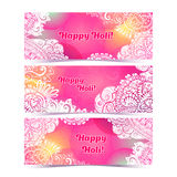 Happy Holi horizontal flyer design template, vector background concept   Royalty Free Stock Photography