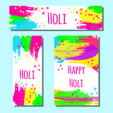 Happy Holi  Indian spring festival of colors. Header, flyer and banner of Happy Holi  Indian spring festival of colors. Vector background with colorful Holi Stock Photos