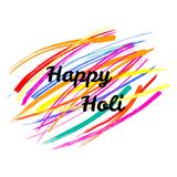 Happy Holi lettering. Typographic poster with quote Happy Holi on a background of colorful brush strokes. Isolated objects on white. Vector illustration. Design Stock Photography