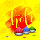 Happy Holi poster design with bowls full of dry colours. Happy Holi poster design with bowls full of dry colours on yellow texture background stock illustration
