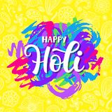 Happy Holi poster with hand written modern calligraphy. And doodle hearts, vector typography design. Colorful party background Stock Images